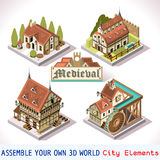 02 tejas medievales isométricas Fotos de archivo