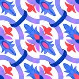 Tejas portuguesas del azulejo Modelo inconsútil de la acuarela Fotos de archivo