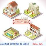 03 tejas romanas isométricas Imágenes de archivo libres de regalías