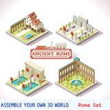 02 tejas romanas isométricas stock de ilustración