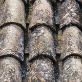 Tejas viejas con textura de los liquenes Tejas de tejado viejas en casa vieja fotos de archivo libres de regalías