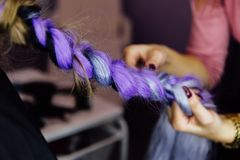 Tejen a la muchacha en el salón de belleza con las trenzas coletas trenzadas Foto de archivo