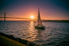 Free Tejo River In Portugal With Sunset Over Bridge On April 25 Stock Photo - 169616410