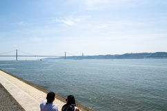 Tejo River in Lissabon, Portugal Stock Afbeelding