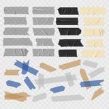 Tejp Gammal och svart grunge, genomskinliga tejper, klibbig uppsättning för kanalstyckvektor stock illustrationer