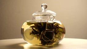 Tekanna med grönt te som omkring rotera arkivfilmer