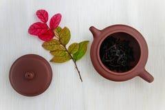 Tekanna med teblad och färgrika sidor Arkivbilder