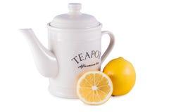 Tekanna och citron royaltyfri bild