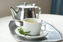 Tekanna och en kopp med grön örtte Royaltyfria Foton