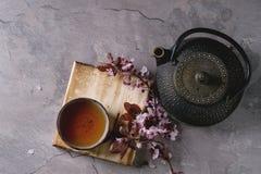 Tekanna och kopp te med blomningfilialen Royaltyfri Fotografi