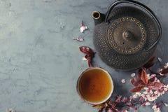 Tekanna och kopp te med blomningfilialen Arkivbild