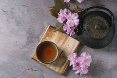 Tekanna och kopp te med blomningfilialen Royaltyfri Bild