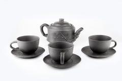 Tekanna och koppar som är handgjorda Royaltyfri Fotografi