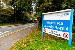Teken bij de ingang aan het Dwarsziekenhuis van Whipps, Royalty-vrije Stock Foto