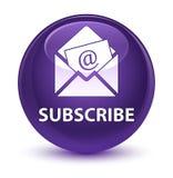 Teken (bulletine-mail pictogram) glazige purpere ronde knoop in royalty-vrije illustratie