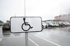 Teken ` de Plaats voor mensen gehandicapte ` parkeren stock foto