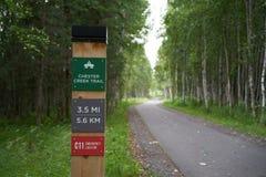 Teken die op de weg voor Chester Creek Trail wijzen royalty-vrije stock fotografie