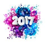 Teken 2017 in document stijl op veelkleurige hand getrokken vlekken Stock Foto