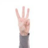 Teken drie van de handtelling geïsoleerde vinger Stock Afbeelding