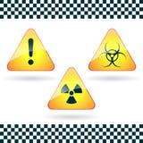 Teken-gevaar, biohazard, radioactief gevaar. stock illustratie