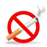 Teken - het roken is belemmerd (kruisen-sigaret) stock illustratie
