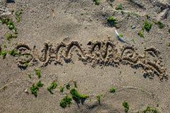 Teken in het zand Royalty-vrije Stock Afbeelding