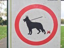 Teken in ingang van het Park van het Oosten in Hull voor hondeigenaars royalty-vrije stock afbeelding