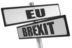Teken met teken met brexit en de EU op wit Stock Afbeeldingen