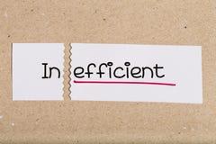 Teken met inefficiënt woord geworden effcient stock foto
