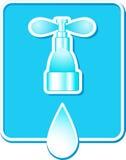 Teken met waterdaling en kraan Stock Fotografie