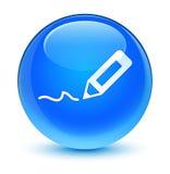 Teken op pictogram glazige cyaan blauwe ronde knoop royalty-vrije illustratie