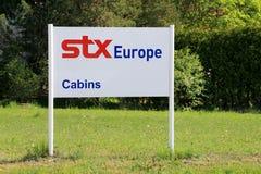 Teken STX Europa in Piikkio, Finland Stock Foto