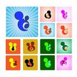 Teken of symbool van moeder en kind Stock Afbeeldingen