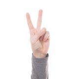 Teken twee van de handtelling geïsoleerde vinger Royalty-vrije Stock Afbeelding