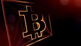 Teken van bitcoin in een vierkante kaart Financiële die achtergrond van gloeddeeltjes als vitrtual hologram wordt gemaakt Glanzen vector illustratie