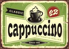 Teken van de cappuccino het uitstekende koffie op oude metaalachtergrond royalty-vrije illustratie