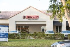 Teken van de Chipolte het Mexicaanse Grill Chipolte is een ketting van toevallige het dineren restaurants zich specialiseert in b royalty-vrije stock afbeelding