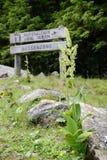 Teken van de het parkinformatie van Hohetauern het nationale bij Gerlostal-vallei Stock Afbeelding