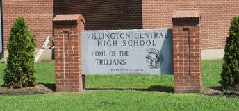 Teken van de Millington het Centrale Middelbare school stock afbeelding