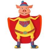 Teken van het Chinese Nieuwjaar Machtig weinig varken superhero vector illustratie