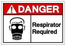 Teken van het gevaars isoleert het Ademhalingsapparaat Vereiste Symbool, Vectorillustratie, op Wit Etiket Als achtergrond EPS10 royalty-vrije illustratie