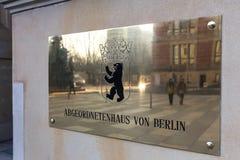 Teken van het huis van vertegenwoordigers van Berlijn Duitsland royalty-vrije stock foto's