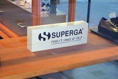 Teken van het Italiaanse merk Superga royalty-vrije stock afbeelding
