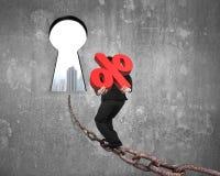 Teken van het mensen het dragende percentage op ketting naar sleutelgat met citysc Stock Fotografie