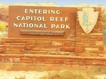 Teken van het Nationale Park van de Capitoolertsader, Utah Royalty-vrije Stock Foto