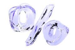 Teken van het percenten het zuivere water op witte achtergrond Stock Afbeeldingen