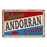 Teken van het het restauranttin van het premie het Andorrese voedsel uitstekende De promotieraad van het advertentieteken voor vo royalty-vrije illustratie