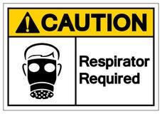 Teken van het voorzichtigheids isoleert het Ademhalingsapparaat Vereiste Symbool, Vectorillustratie, op Wit Etiket Als achtergron stock illustratie