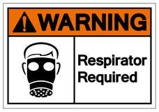 Teken van het waarschuwings isoleert het Ademhalingsapparaat Vereiste Symbool, Vectorillustratie, op Wit Etiket Als achtergrond E stock illustratie