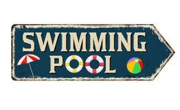 Teken van het zwembad het uitstekende roestige metaal stock illustratie